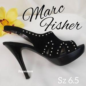 Mark Fisher Heels Platform Black Suede Gold Studs